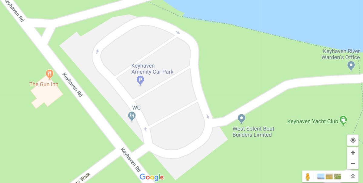 Google Map of Keyhaven Amenity car park